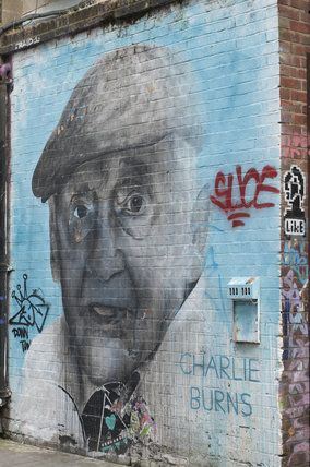 Graffiti portrait of Charlie Burns in East London by Ben Slow