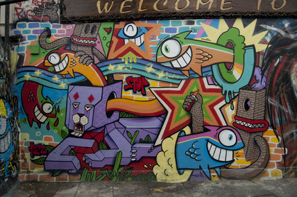 Graffiti of abstract cartoon characters in East London