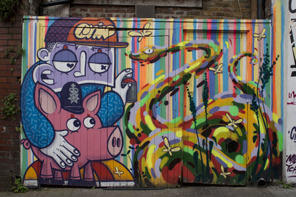 Graffiti in East London by Chivitz and Milo Tchais