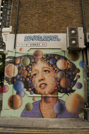 Graffiti portrait of girl in East London by Jimmy C