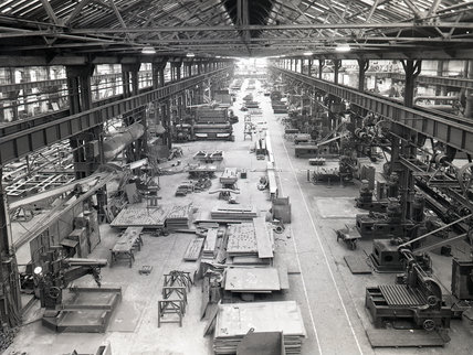 Works photographic negative of interior view of the middle bay of the boiler shop, 1959.