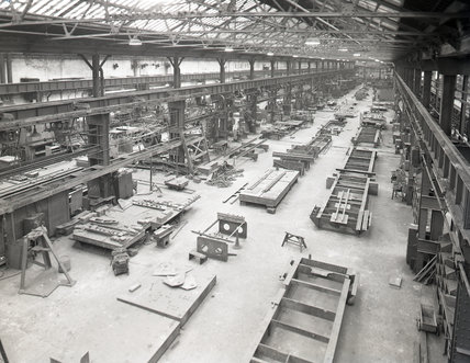 Works photographic negative of interior view of the tender shop, 1959.