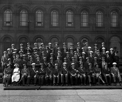 Works photographic negative of Beyer, Peacock & Co. ARP Control and Service Wardens, 1940.