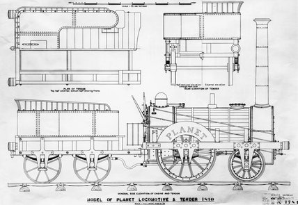Stephenson's 'Planet' locomotive, 1830. at Science and Society ...