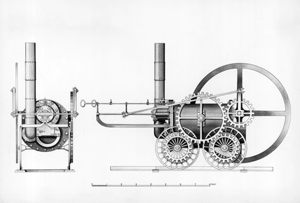 Richard Trevithick's Coalbrookdale locomotive, 1803.