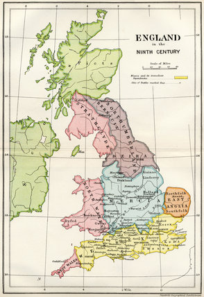 Map Of England In 9th Century.Map Of England In The Ninth Century From A Short History Of The