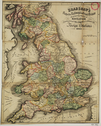Bradshaw's Map of the Railways in Great Britain shewing also the line of Navigation from the principal Sea Ports .... George Bradshaw (1801-1853)