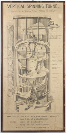 Framed illustration: Vertical Spinning Tunnel from the National Aeronautical Establishment. Shows annotated cut-away drawing of a vertical wind tunnel