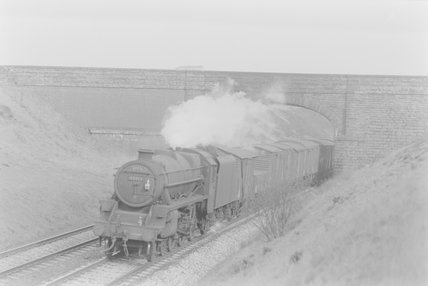 A steam locomotive hauling a goods train, passing under bridge. ,A1969.70/Box 5/Neg 1271/4