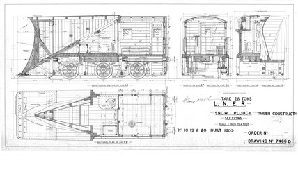 Roll No. 022 drg no. 7466D - Snow Plough, timber construction, sections, Nos.18-20, built 1909