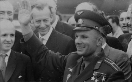 Yuri Gagarin waves to the photographers at London airport, 11th July 1961.