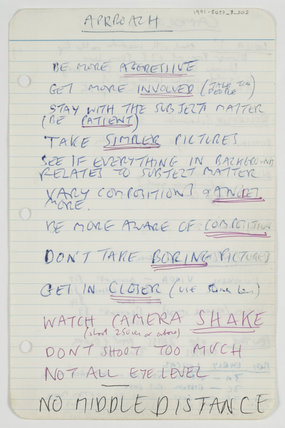 Page from Tony Ray-Jones' notebook