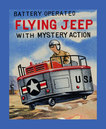 Battery Operated Flying Jeep with Mystery Action 1950