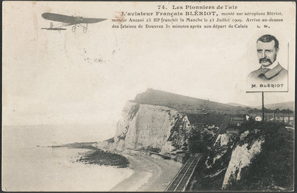 Postcard for the Pioneers of the air,  M. Bleriot on his first flight across the English Channel