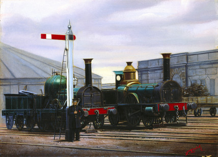 Two steam locomotives outside Stratford station, Greater London, c 1900.