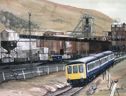 Diesel multiple unit in South Wales valley, 1980.