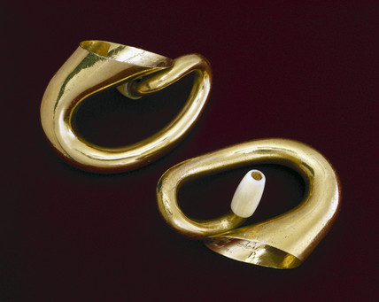 A pair of miniature double trumpet hearing aids, English, c 1865.