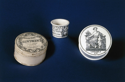 Three dispensing pots, English, 19th century.