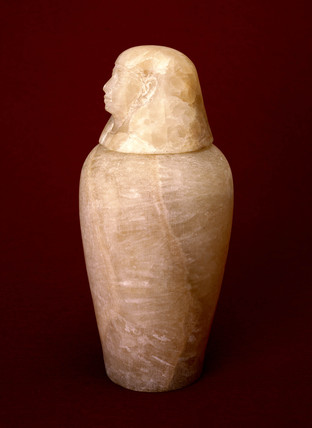 Ancient Egyptian Canopic burial jar, 800-200 BC.