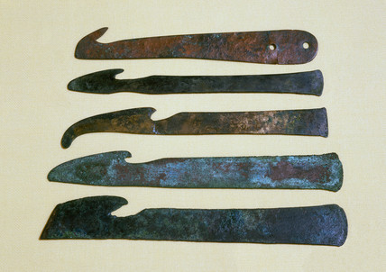 Bronze surgical knives, Egypt and Mesopotamia, c 600-200 BC.