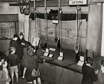 Pulley blocks in the Children's Gallery of the Science Museum, London, 1949.