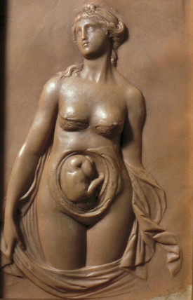 Female anatomical figure with foetus, early 19th century.