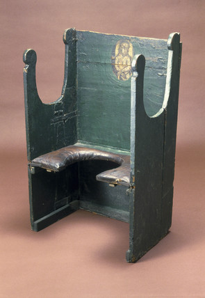 The 'Miraculous Chair of Palermo', parturition chair, early 18th century.