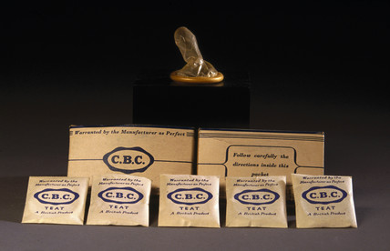 Teat-ended 'CBC' condoms in original packaging, 1930-1965.