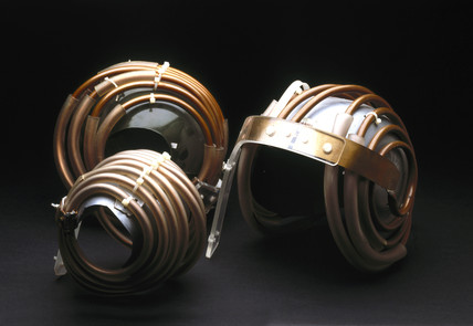 'Jedi' helmets for magnetic resonance imaging (MRI) of the brain, 1984.