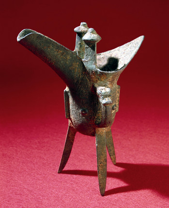 Bronze libation cup from a Chinese tomb, Chueh variety, 1500-500 BC.
