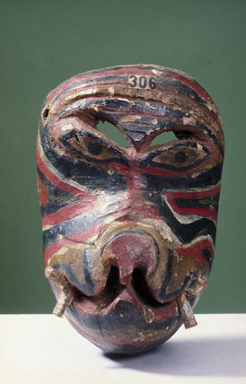 Painted animal face mask, Singhalese from Sri Lanka, 1771-1920.