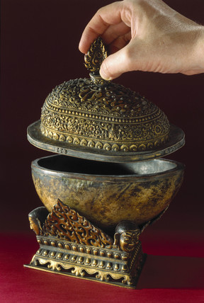 Bowl made from a human skull on a bras stand, Tibetan, 18th-19th century.