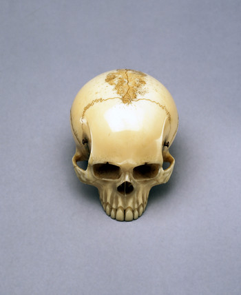 Model of a skull, probably a netsuke, Japanese.