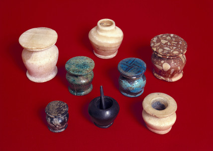 Ancient Egyptian kohl pots, 1800-200 BC.