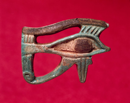 Ancient Egyptian faience amulet, right eye, 4000-30 BC.