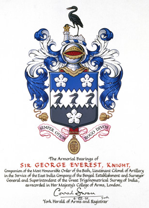 The coat of arms of Sir George Everest, 1990.