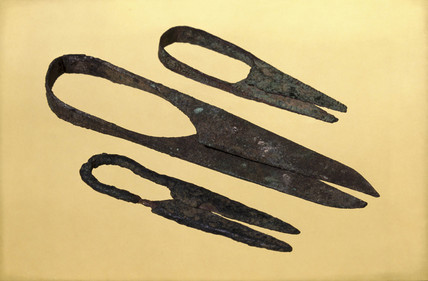 Three pairs of Roman surgical shears, 200-500 AD.