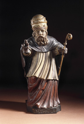 Wooden statue of St Cornelius, probably French, 17th century.