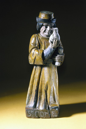 Wooden statue of St Cosmas, probably French, 19th century.