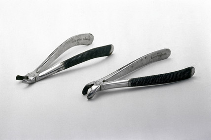 Steel dental forceps, c 1870.