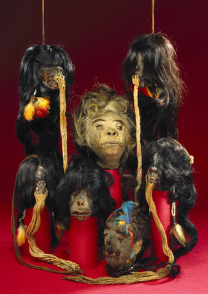 Shrunken heads, South American, 19th century.