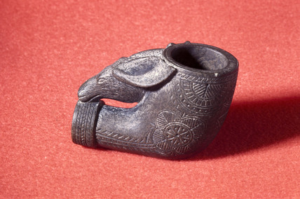 Moose-shaped pipe bowl, Canada, c 1850-1870.