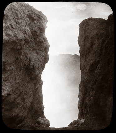 View into a volcanic crater, Japan, 1876.