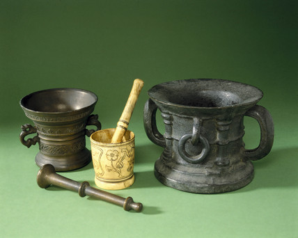 A selection of early European pestle and mortars, 1300-1500.