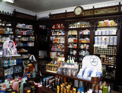 Interior view of H A Noble's chemist shop, South Croydon, London, c 1970s.