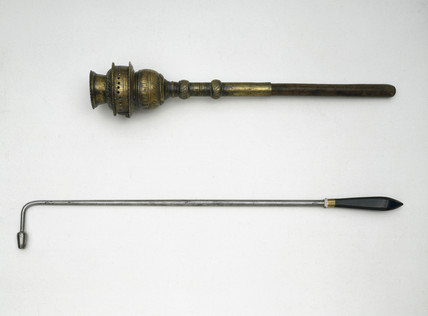 Long handled cautery and fumigating torch, 17th century.