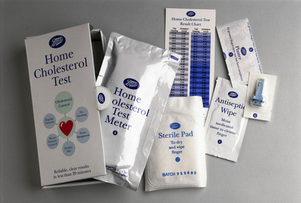 Home cholesterol test kit, England, 1992.