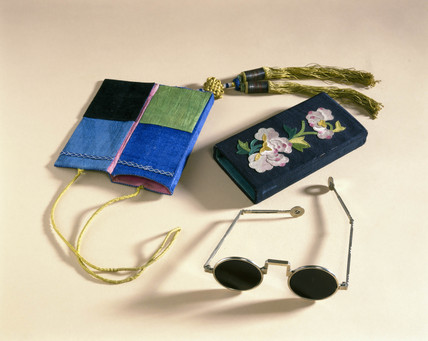 Sunglases with case, Chinese, c 1870-1920.