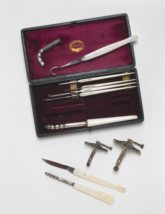 Tracheotomy set, English, 1870-1901.