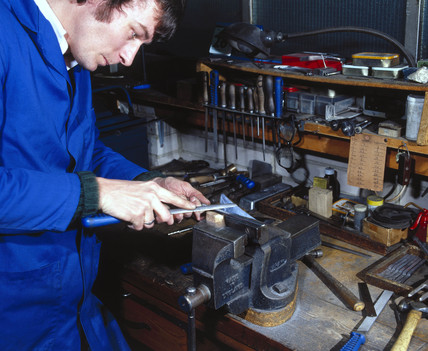 Tool making at Arnold & Sons, Essex, 1981.